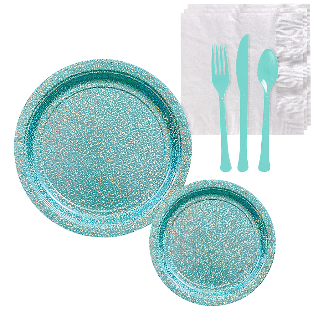 Prismatic Robin's Egg Blue Tableware Kit for 16 Guests Image #1