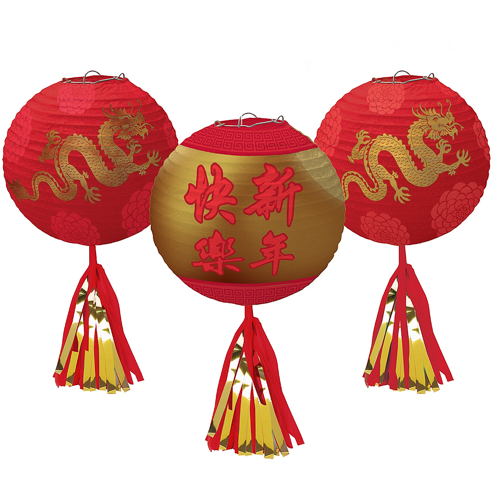 Chinese New Year Deluxe Paper Lanterns 3ct Image #1