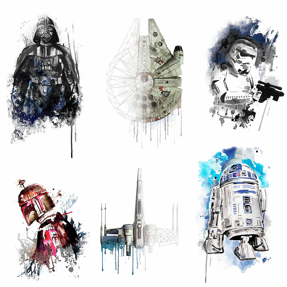 Watercolor Star Wars Wall Decals 6ct Image #2