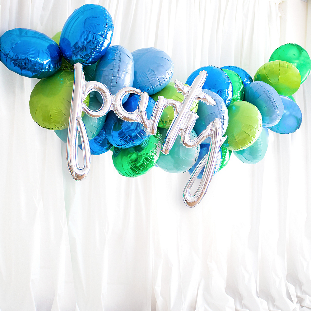 31in Air-Filled Silver Party Cursive Letter Balloon Garland Kit Image #1