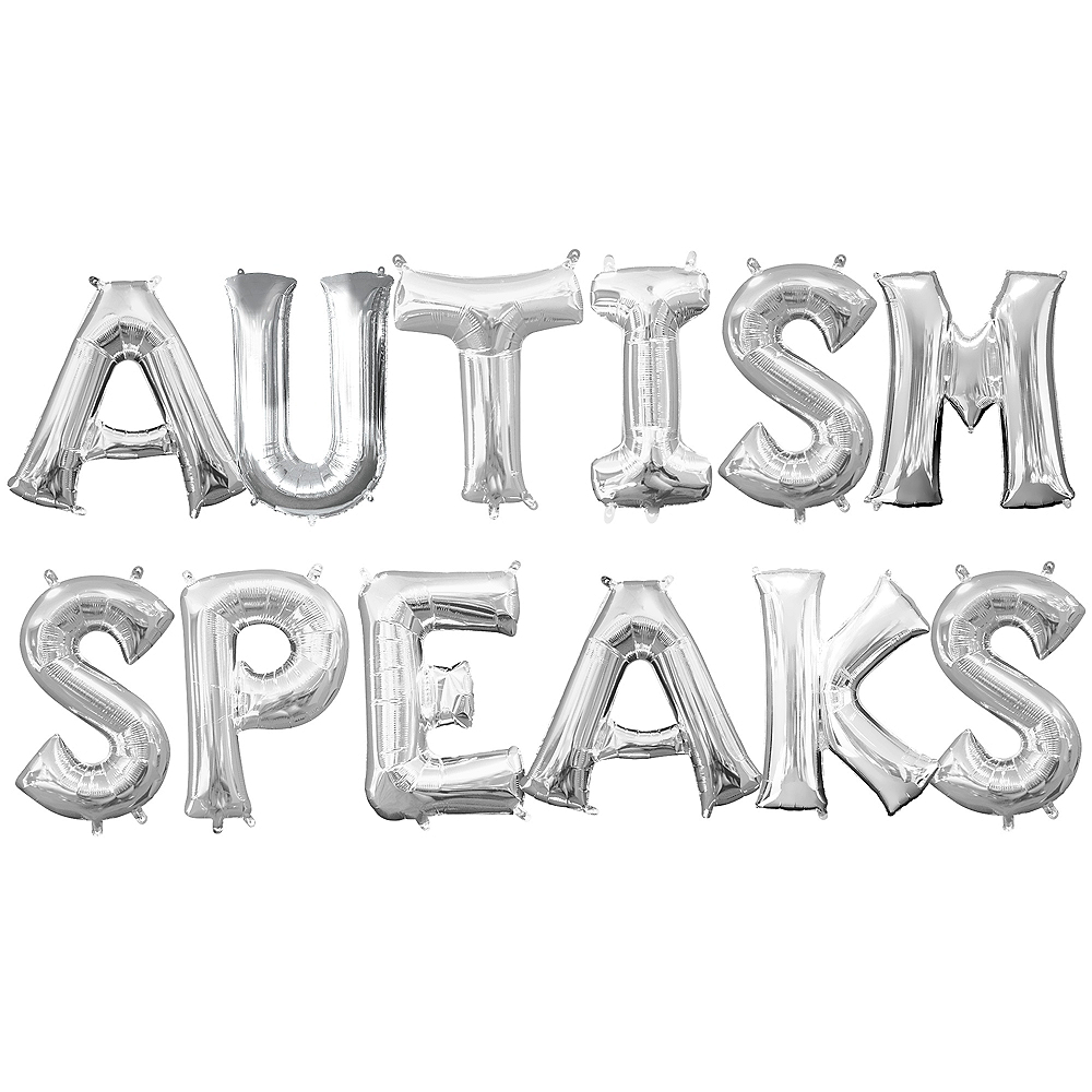 34in Air-Filled Autism Speaks Letter Balloon Kit Image #1