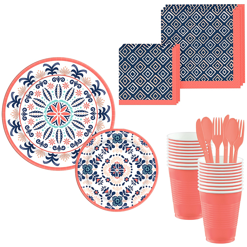 Bright Coral Diamond & Tile Complete Tableware Kit for 32 Guests Image #1