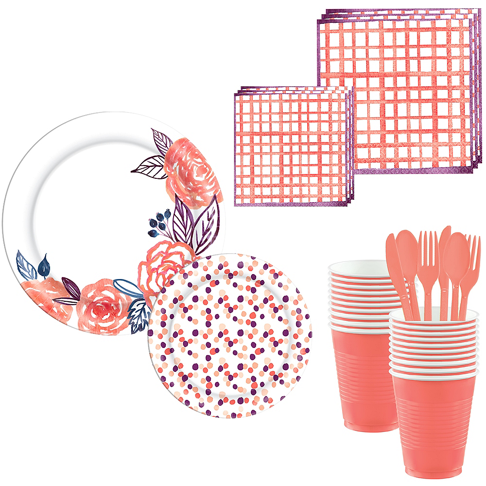 Bright Coral Floral & Diamond Complete Tableware Kit for 32 Guests Image #1