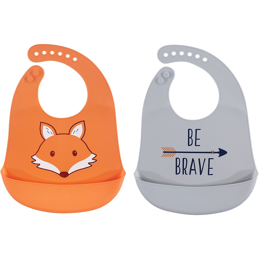 Fox Hudson Baby Waterproof, Silicone Bib with Pocket, 2 Pack Image #1