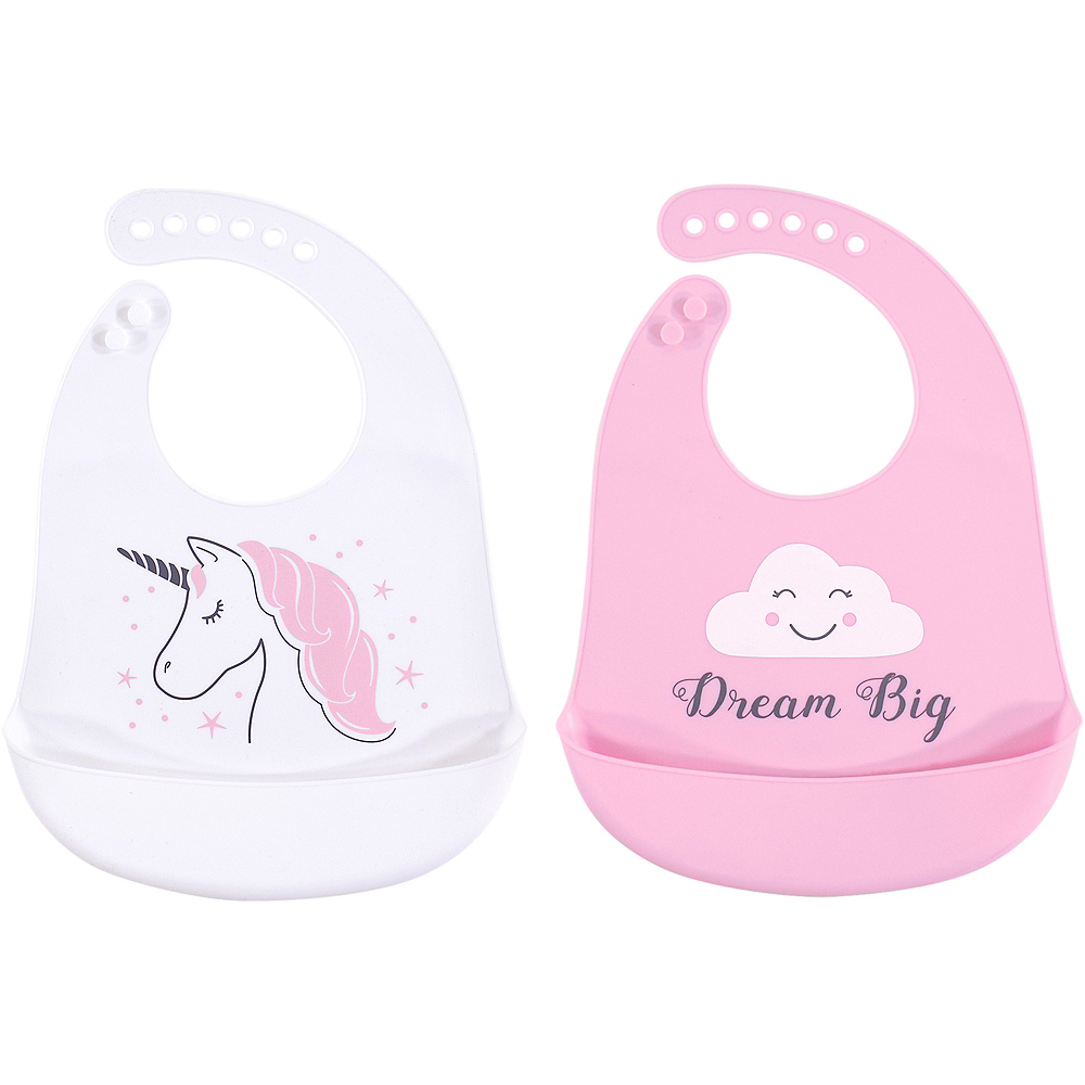 Unicorn Hudson Baby Waterproof, Silicone Bib with Pocket, 2 Pack Image #1
