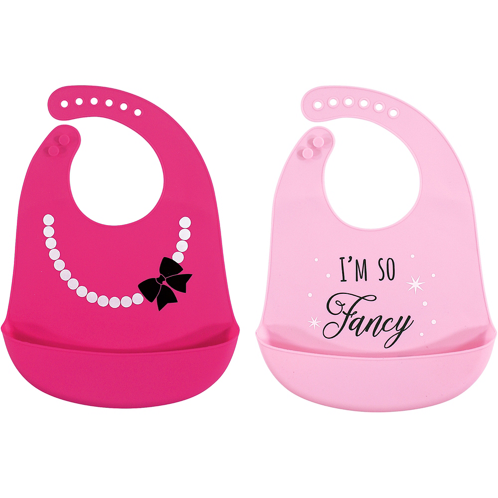 Fancy Hudson Baby Waterproof, Silicone Bib with Pocket, 2 Pack Image #1
