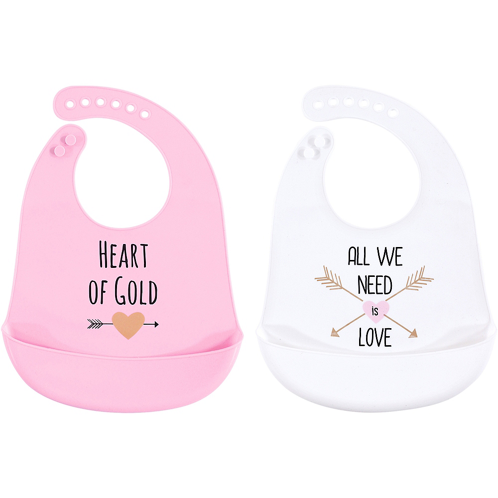 Nav Item for Gold Heart Hudson Baby Waterproof, Silicone Bib with Pocket, 2 Pack Image #1
