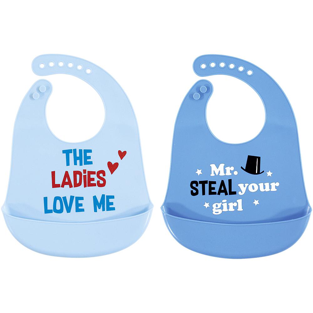 Mr. Steal Your Girl Hudson Baby Waterproof, Silicone Bib with Pocket, 2 Pack Image #1