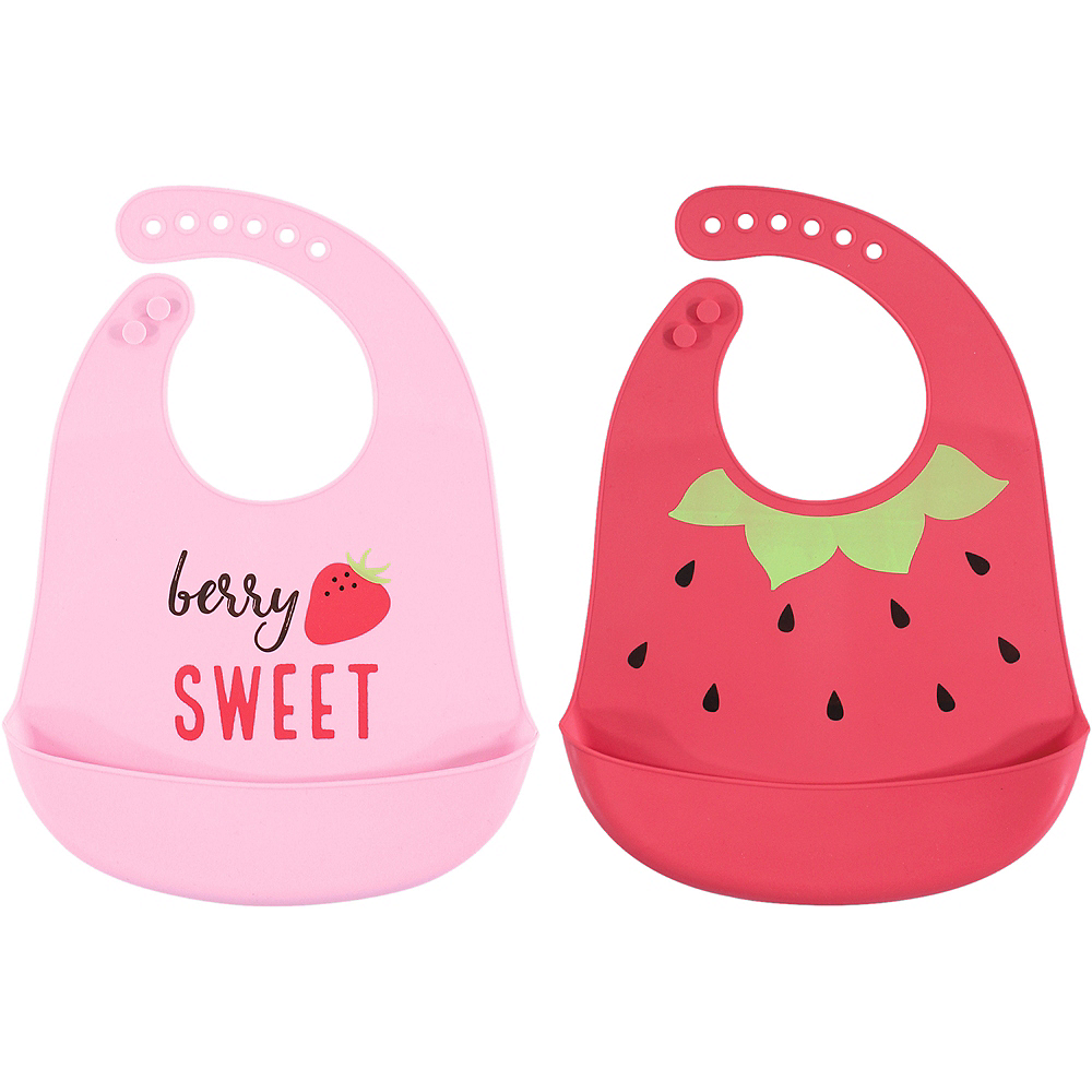 Strawberry Hudson Baby Waterproof, Silicone Bib with Pocket, 2 Pack Image #1