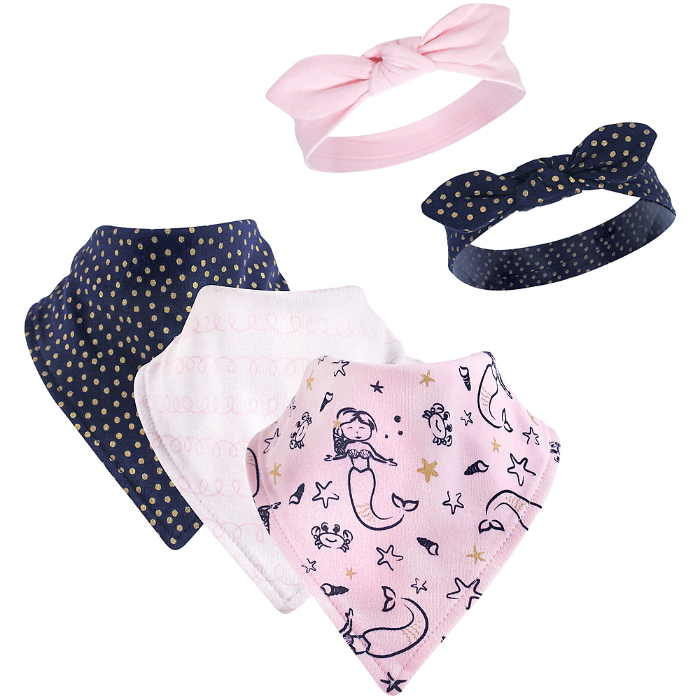 Mermaid Hudson Baby Bandana Bibs & Headbands Set, 5-Piece, 0-9 months Image #1