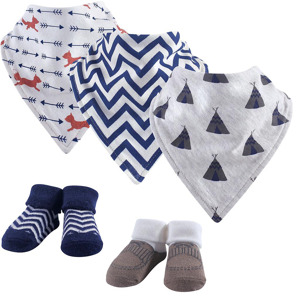 Teepee Hudson Baby Bandana Bibs & Socks Set, 5-Piece, 0-9 months Image #1