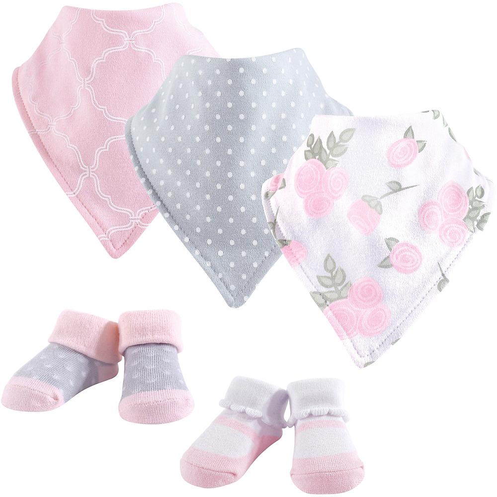 Pink Rose Hudson Baby Bandana Bibs & Socks Set, 5-Piece, 0-9 months Image #1