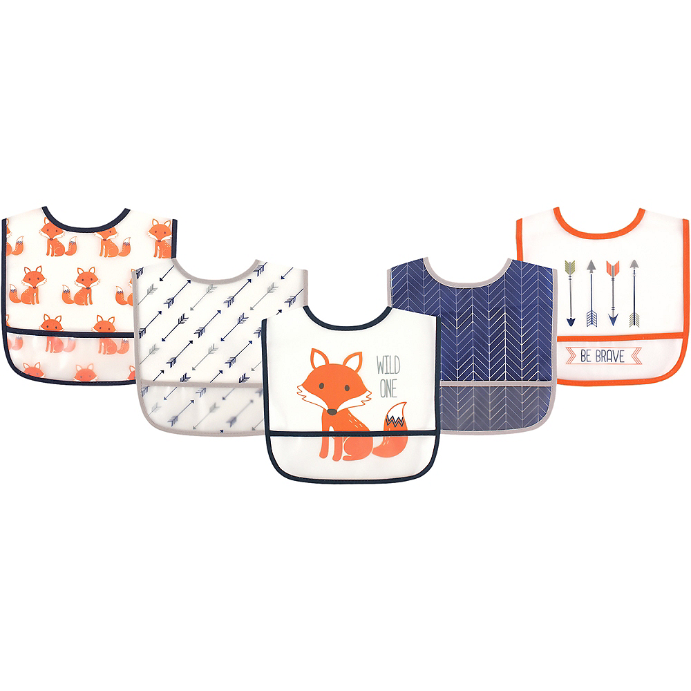 Fox Hudson Baby Waterproof Bibs, 5-Pack Image #1