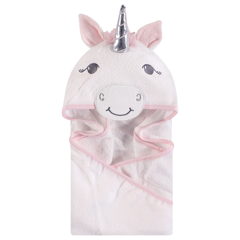 White Unicorn Hudson Baby Animal Face Hooded Towel Image #1