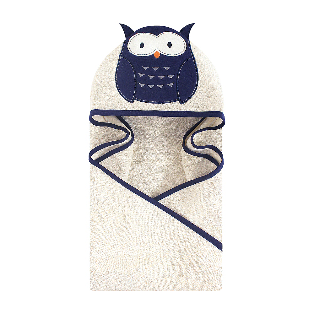 Navy Owl Hudson Baby Animal Face Hooded Towel Image #1