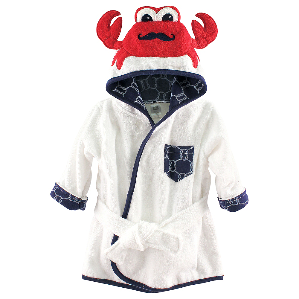 Mr. Crab Hudson Baby Animal Face Hooded Bath Robe, 0-9 months Image #1