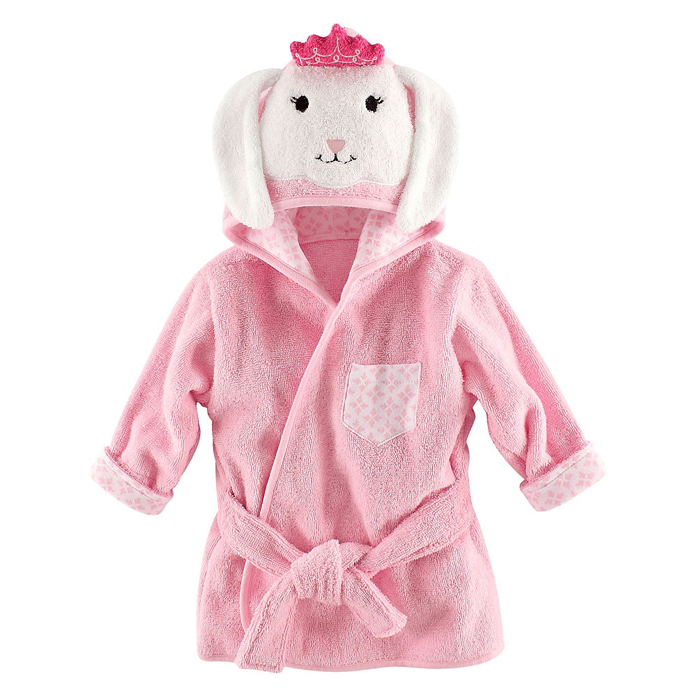 Princess Bunny Hudson Baby Animal Face Hooded Bath Robe, 0-9 months Image #1