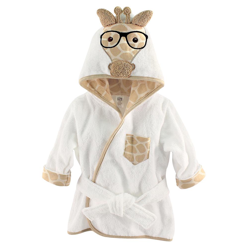 Nerdy Giraffe Hudson Baby Animal Face Hooded Bath Robe, 0-9 months Image #1