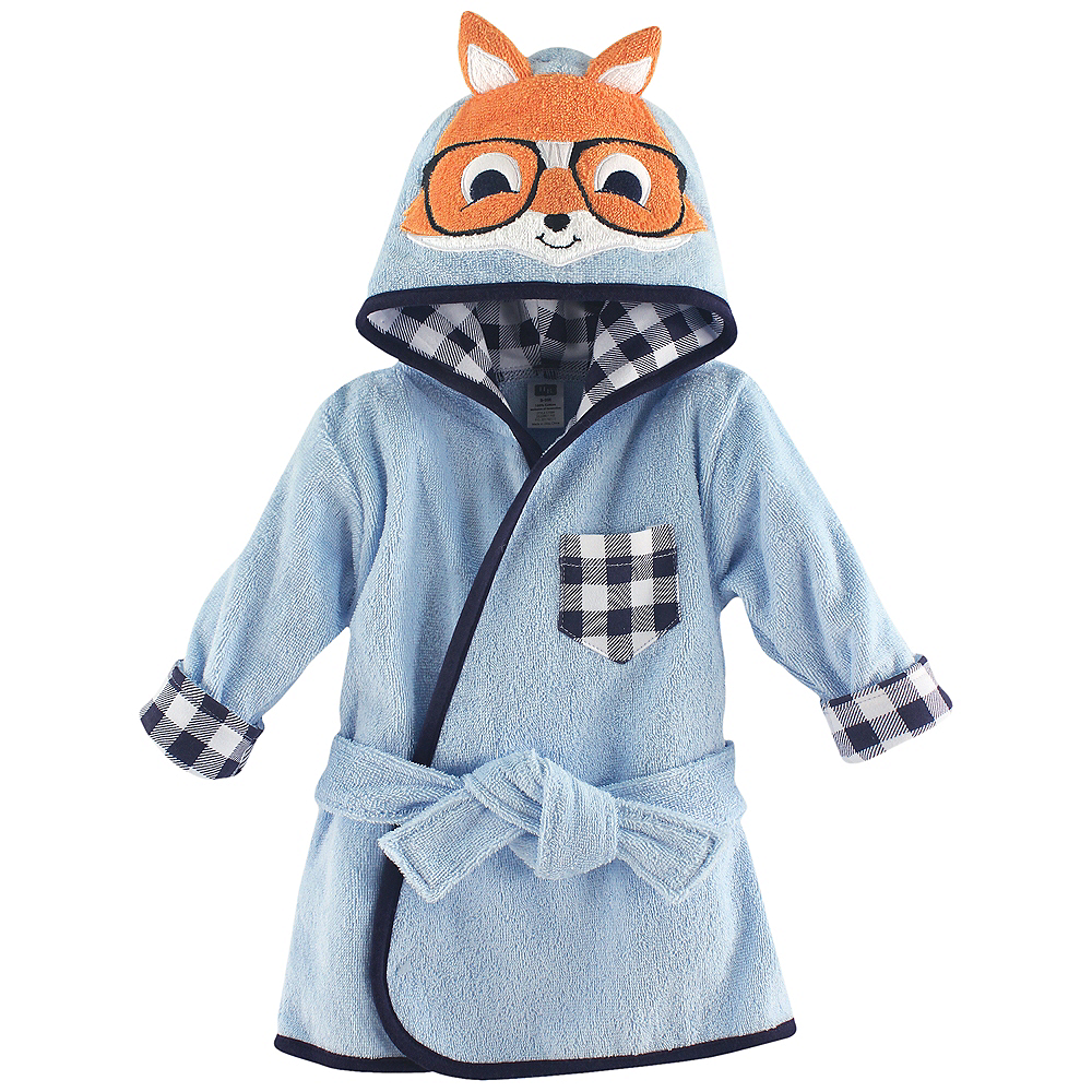 Nerdy Fox Hudson Baby Animal Face Hooded Bath Robe, 0-9 months Image #1