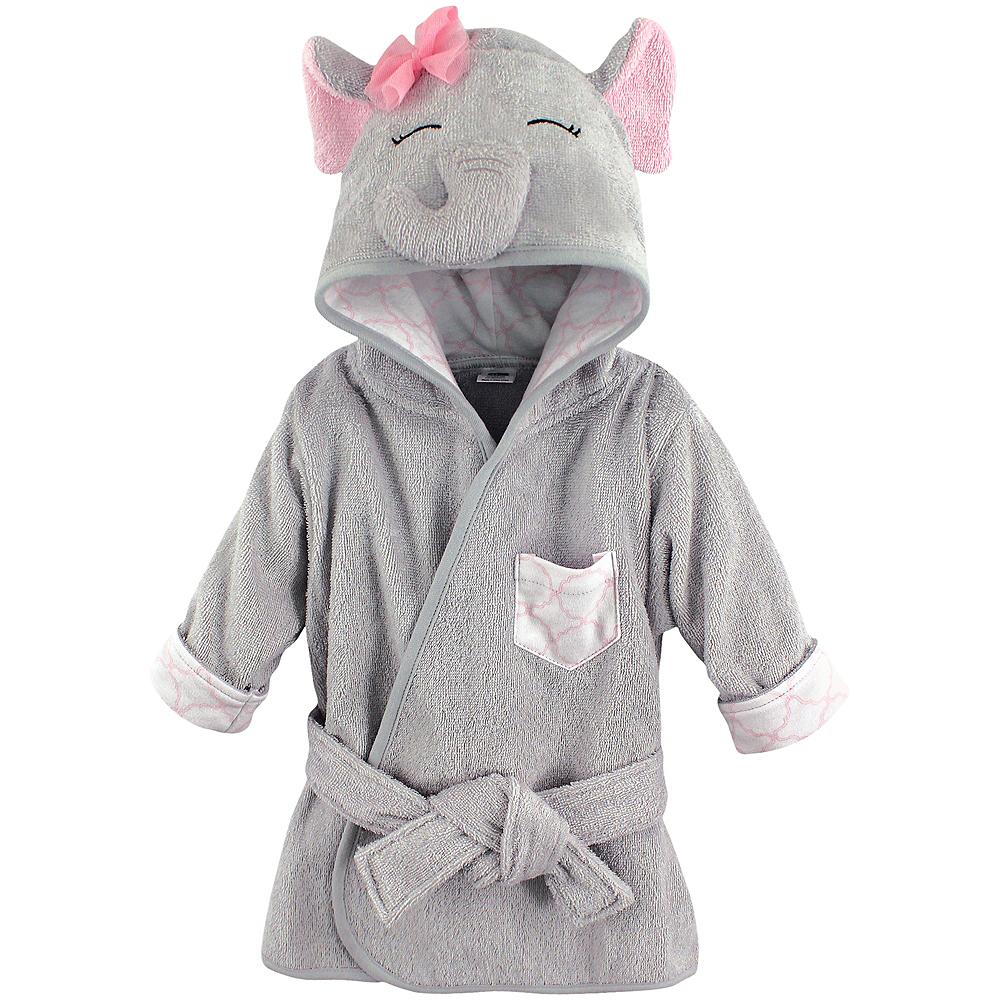 Pretty Elephant Hudson Baby Animal Face Hooded Bath Robe, 0-9 months Image #1