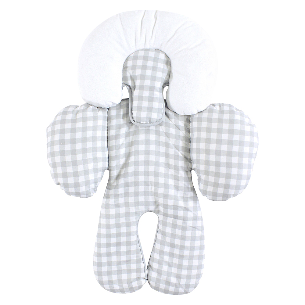 Gray Gingham Hudson Baby Car Seat Body Support Insert Image #1