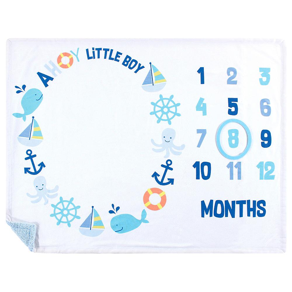 Ahoy Nautical Hudson Baby Milestone High Pile Blanket Image #1