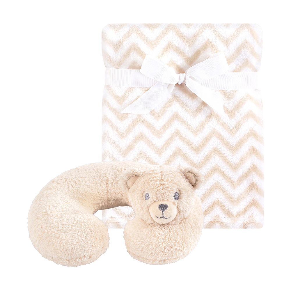 Tan Bear Hudson Baby Travel Neck Support Pillow and Blanket Set, 2 Piece Image #1