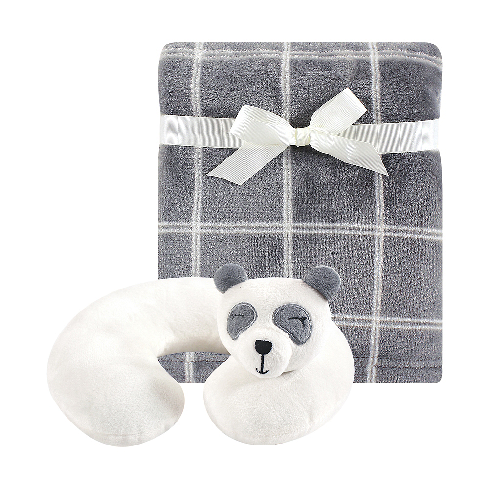 Panda Hudson Baby Travel Neck Support Pillow and Blanket Set, 2 Piece Image #1