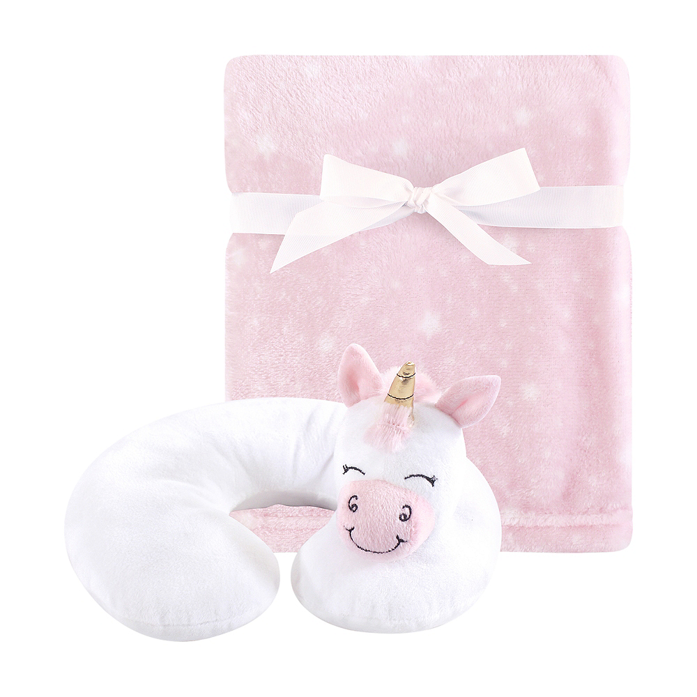 Pink Unicorn Hudson Baby Travel Neck Support Pillow and Blanket Set, 2 Piece Image #1
