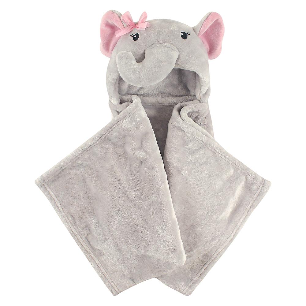 Girly Elephant Hudson Baby Plush Hooded Blanket Image #1
