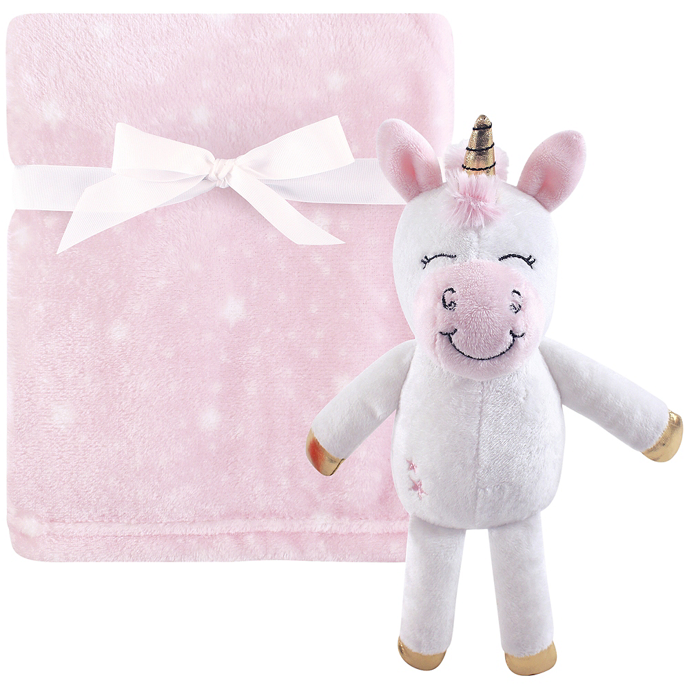 Nav Item for Pink Unicorn Hudson Baby Plush Blanket and Toy, 2-Piece Set Image #1