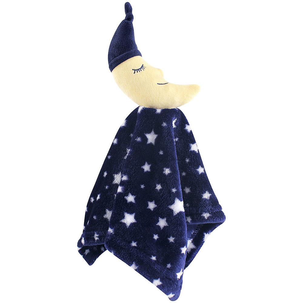 Navy Moon Hudson Baby Animal Friend Plushy Security Blanket Image #1