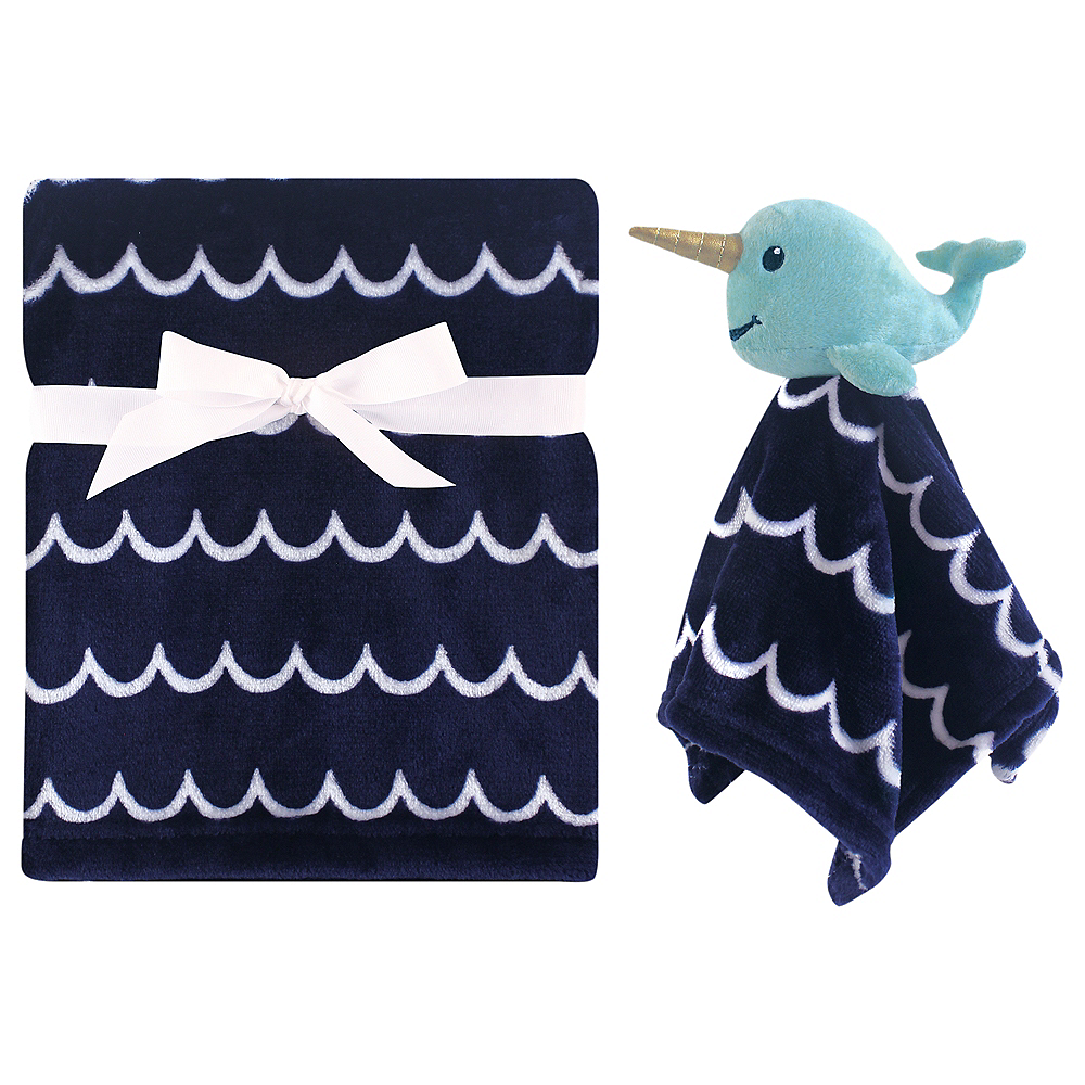 Narwhal Hudson Baby Plush Blanket and Security Blanket Image #1