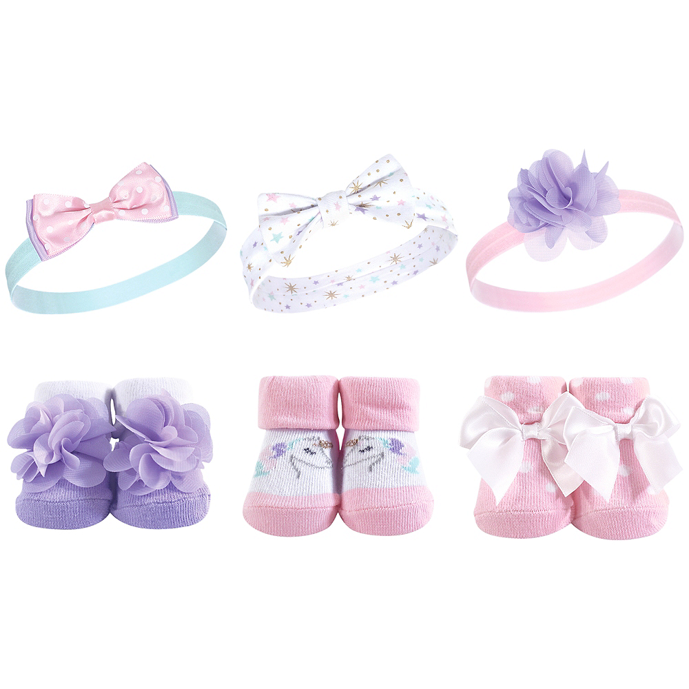 Magical Unicorn Hudson Baby Headbands and Socks Set, 6-Piece Image #1