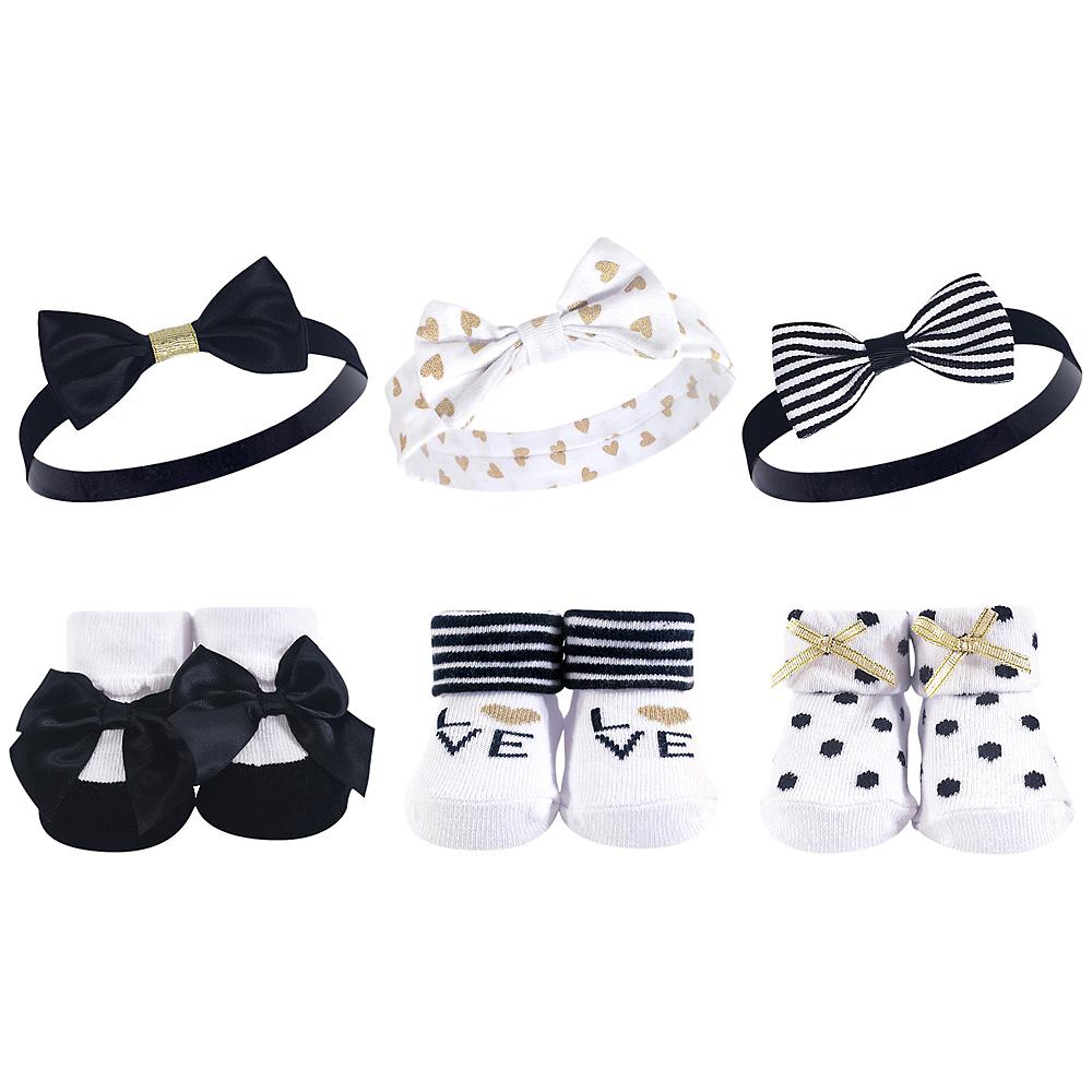 Black and Gold Hudson Baby Headbands and Socks Set, 6-Piece Image #1