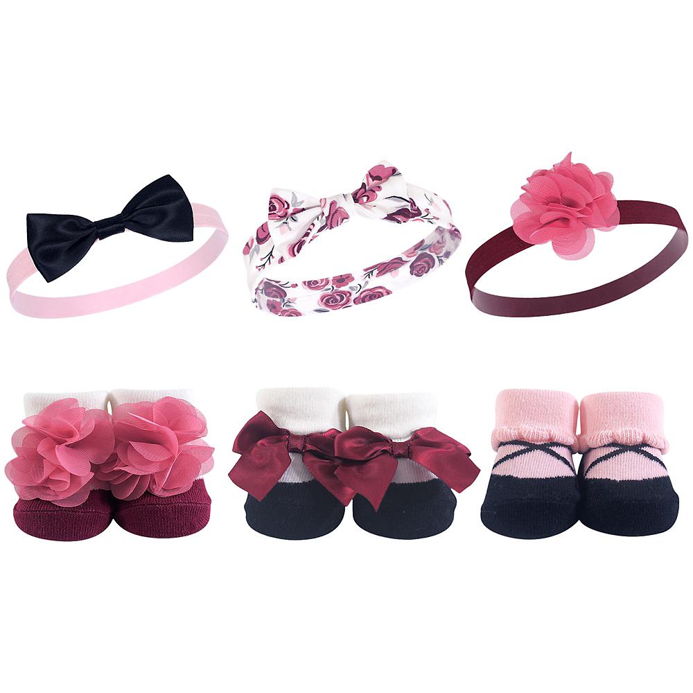 Burgundy Floral Hudson Baby Headbands and Socks Set, 6-Piece Image #1