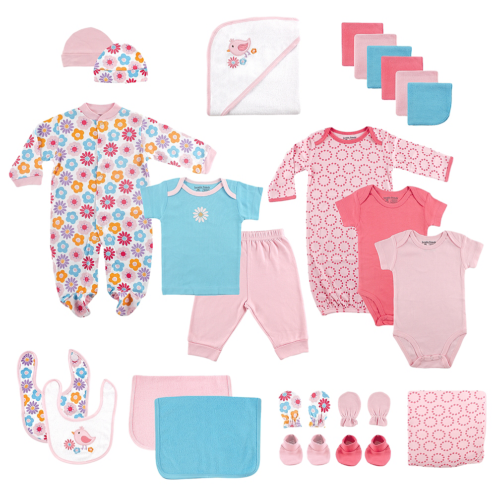 Pink Birds Luvable Friends Shower Gift Cube, 24-Piece Set Image #1