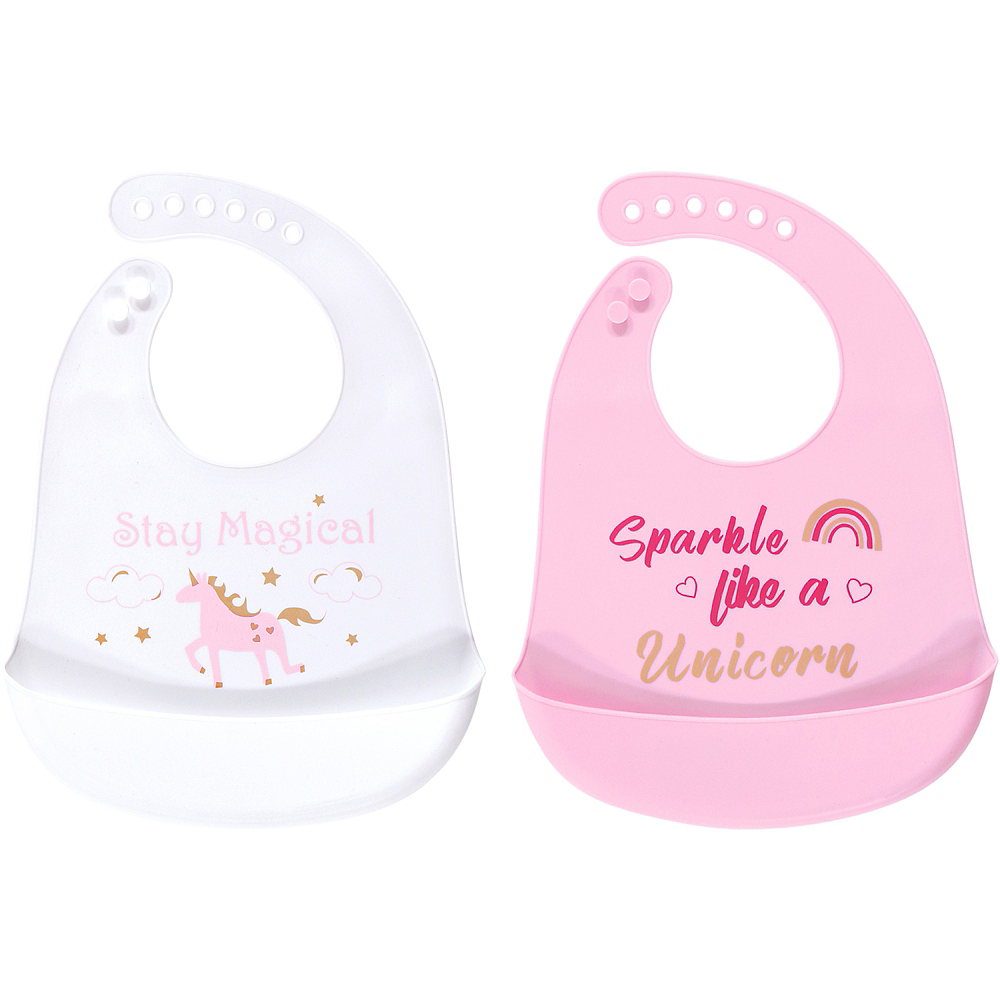 Sparkle Like a Unicorn Luvable Friends Waterproof, Silicone Bib with Pocket, 2 Pack Image #1