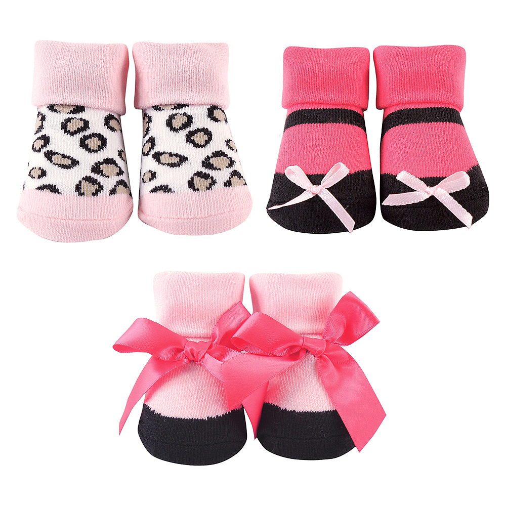 Dark Pink and Leopard Luvable Friends Socks Gift Set, 3-Pack, 0-9 months Image #1