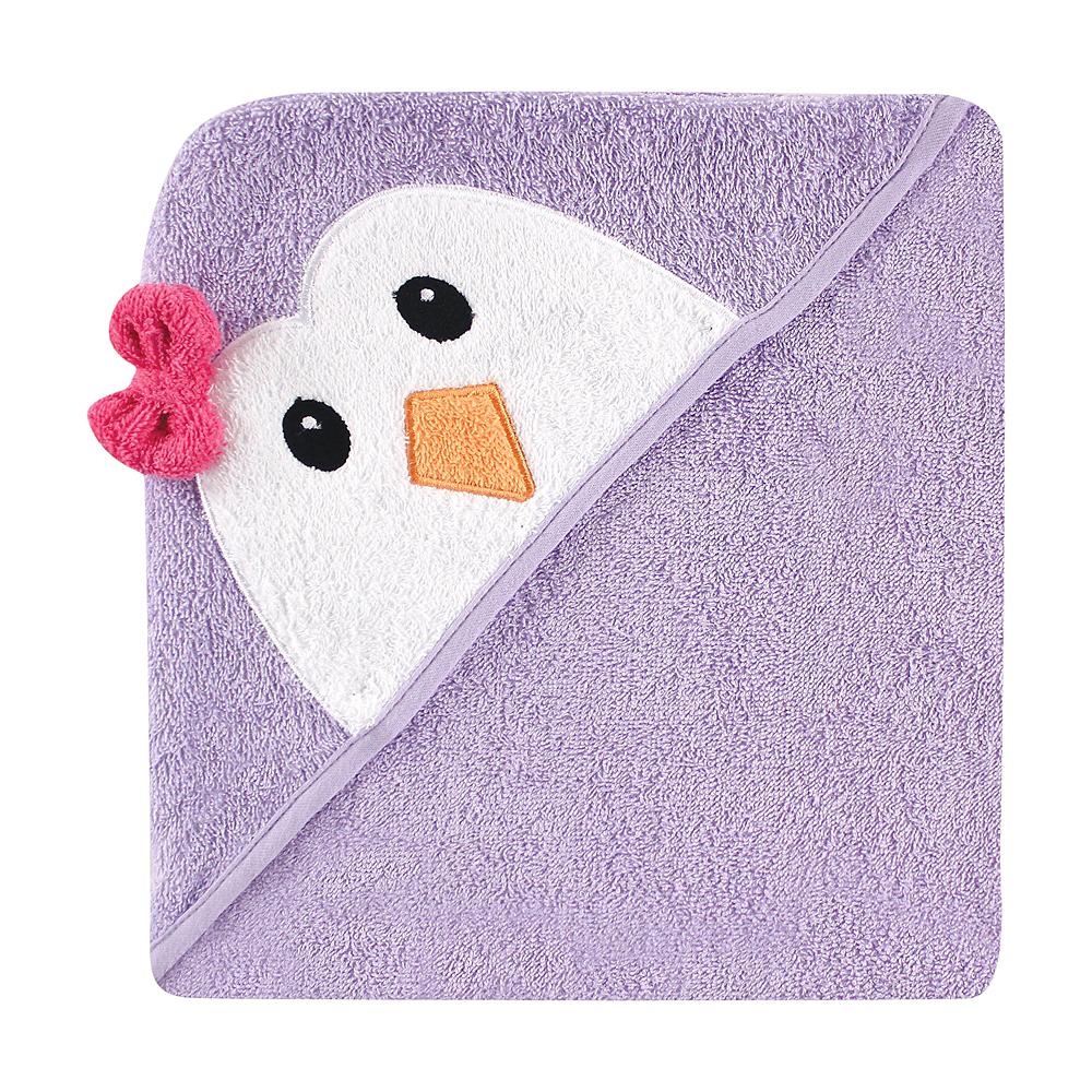 Purple Penguin Luvable Friends Animal Face Hooded Towel Image #1