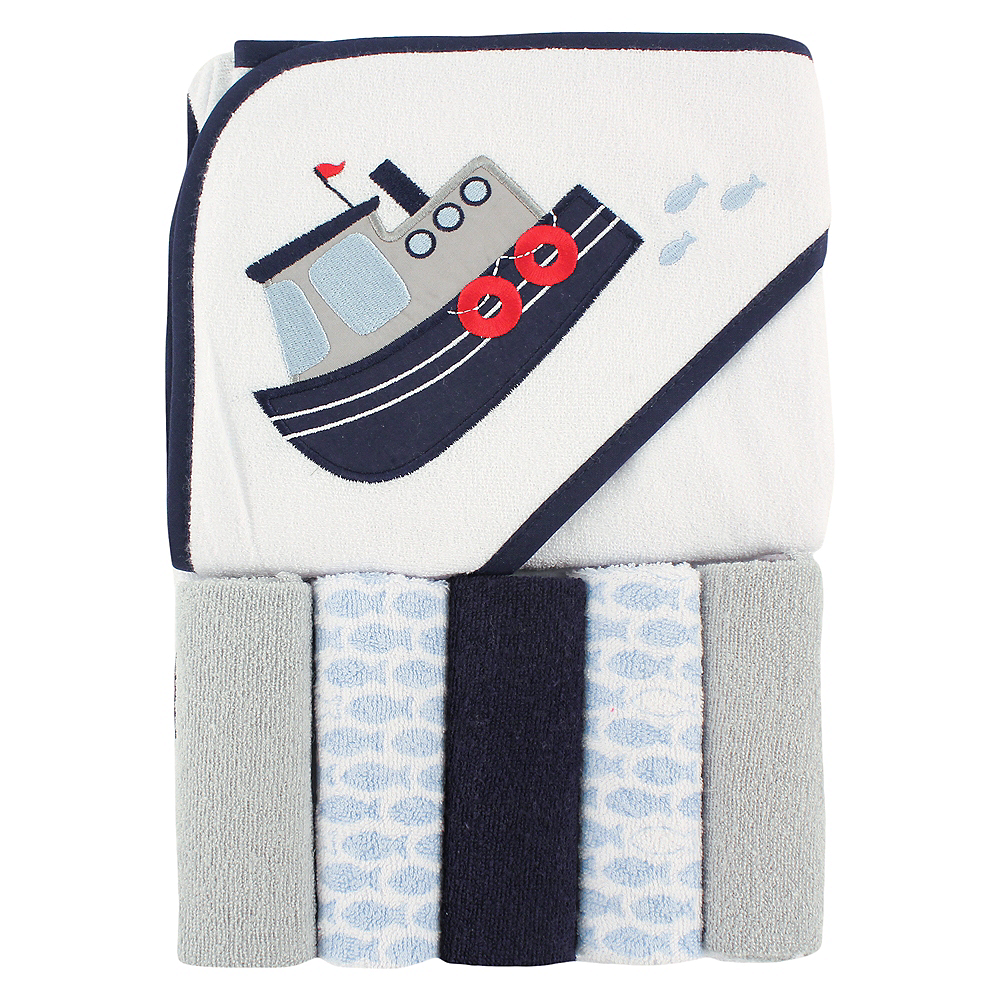 Blue Steamboat Luvable Friends Hooded Towel with Washcloths, 6-Piece Set Image #1