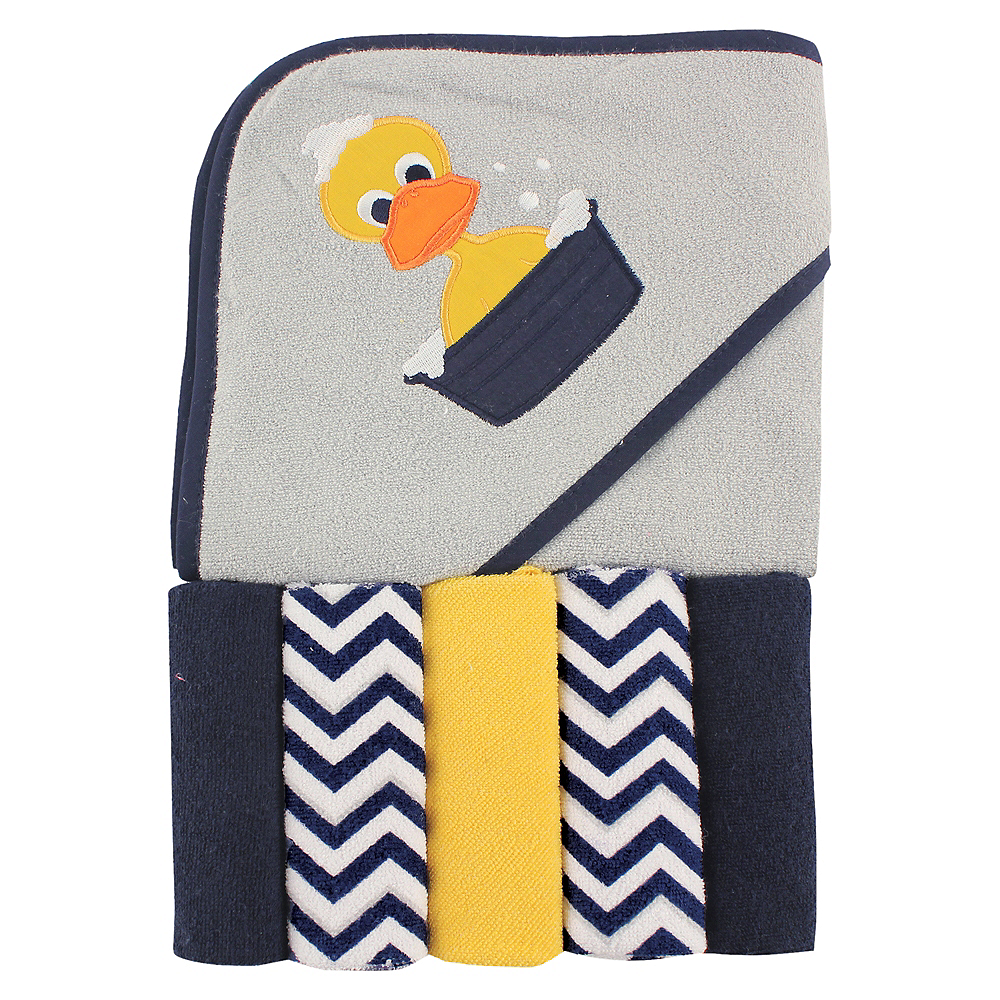 Duck Luvable Friends Hooded Towel with Washcloths, 6-Piece Set Image #1