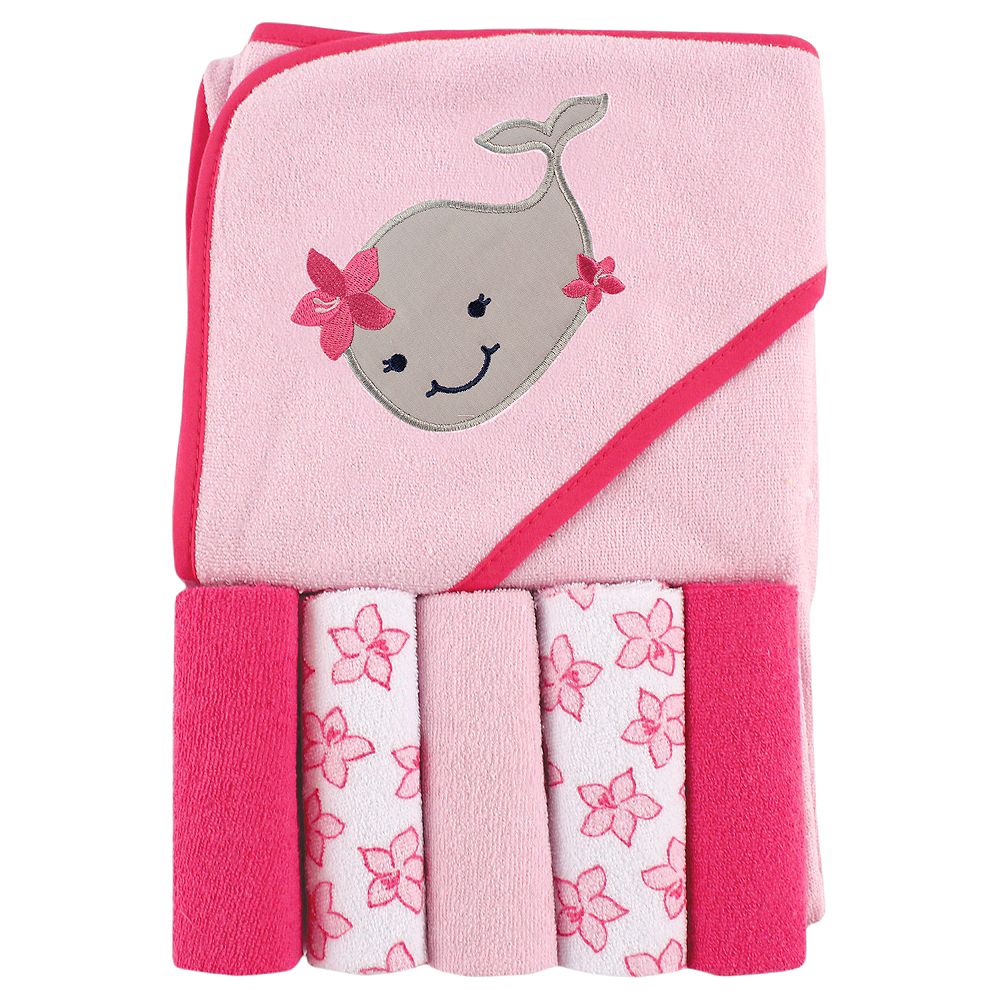 Girly Whale Luvable Friends Hooded Towel with Washcloths, 6-Piece Set Image #1