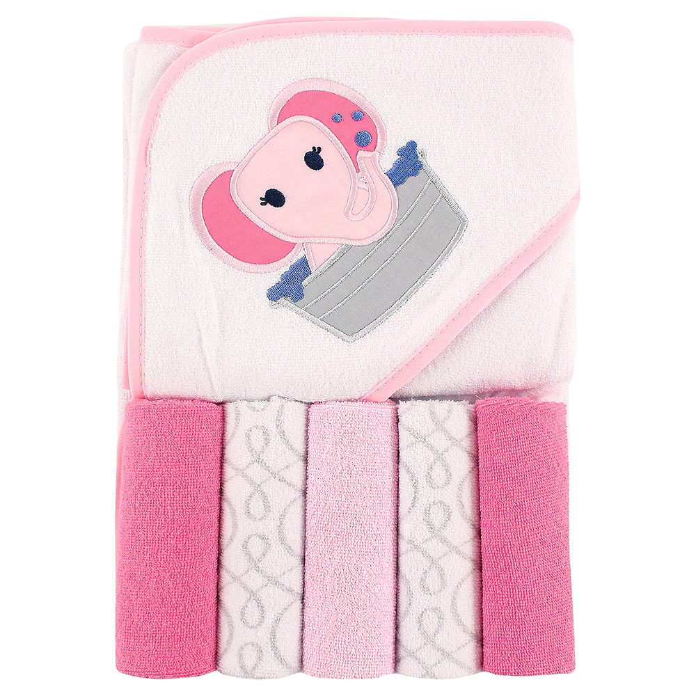 Pink Elephant Luvable Friends Hooded Towel with Washcloths, 6-Piece Set Image #1