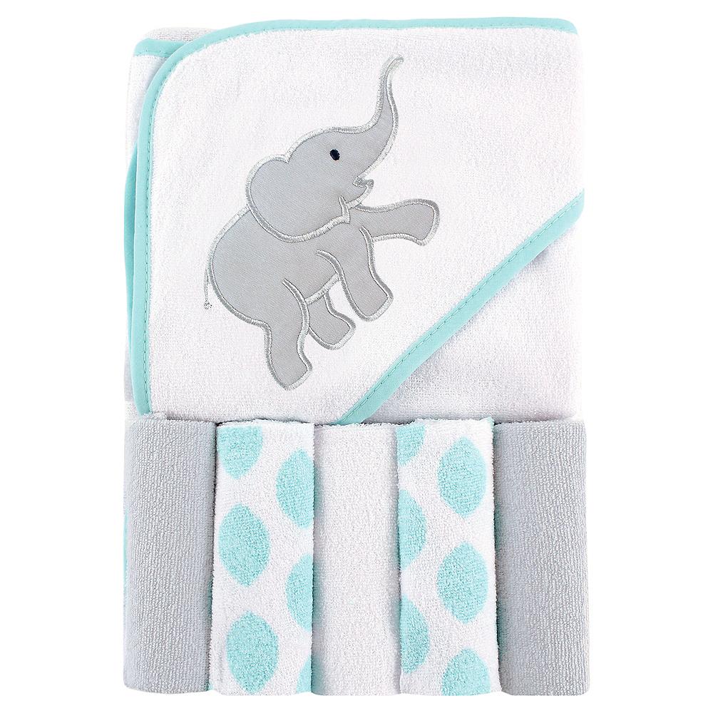 Ikat Elephant Luvable Friends Hooded Towel with Washcloths, 6-Piece Set Image #1