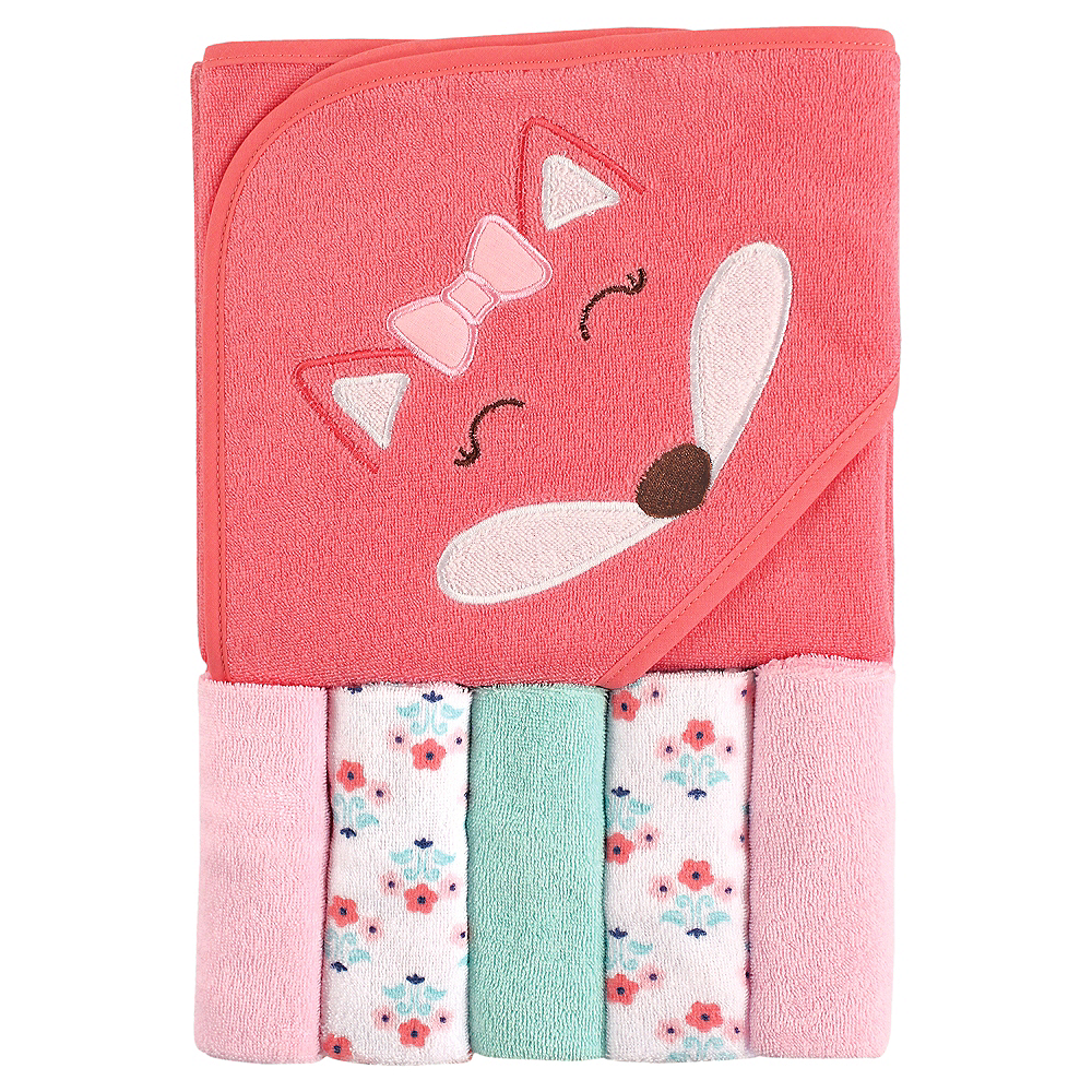 Fox Luvable Friends Hooded Towel with Washcloths, 6-Piece Set Image #1