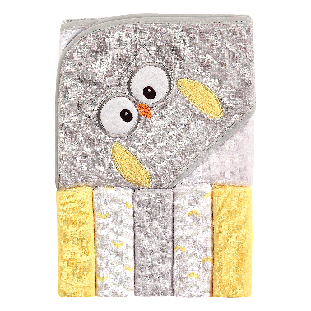Owl Luvable Friends Hooded Towel with Washcloths, 6-Piece Set Image #1