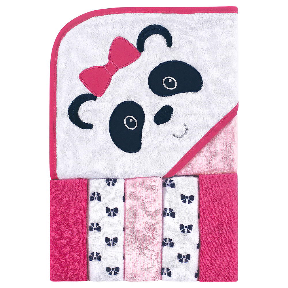 Panda Luvable Friends Hooded Towel with Washcloths, 6-Piece Set Image #1