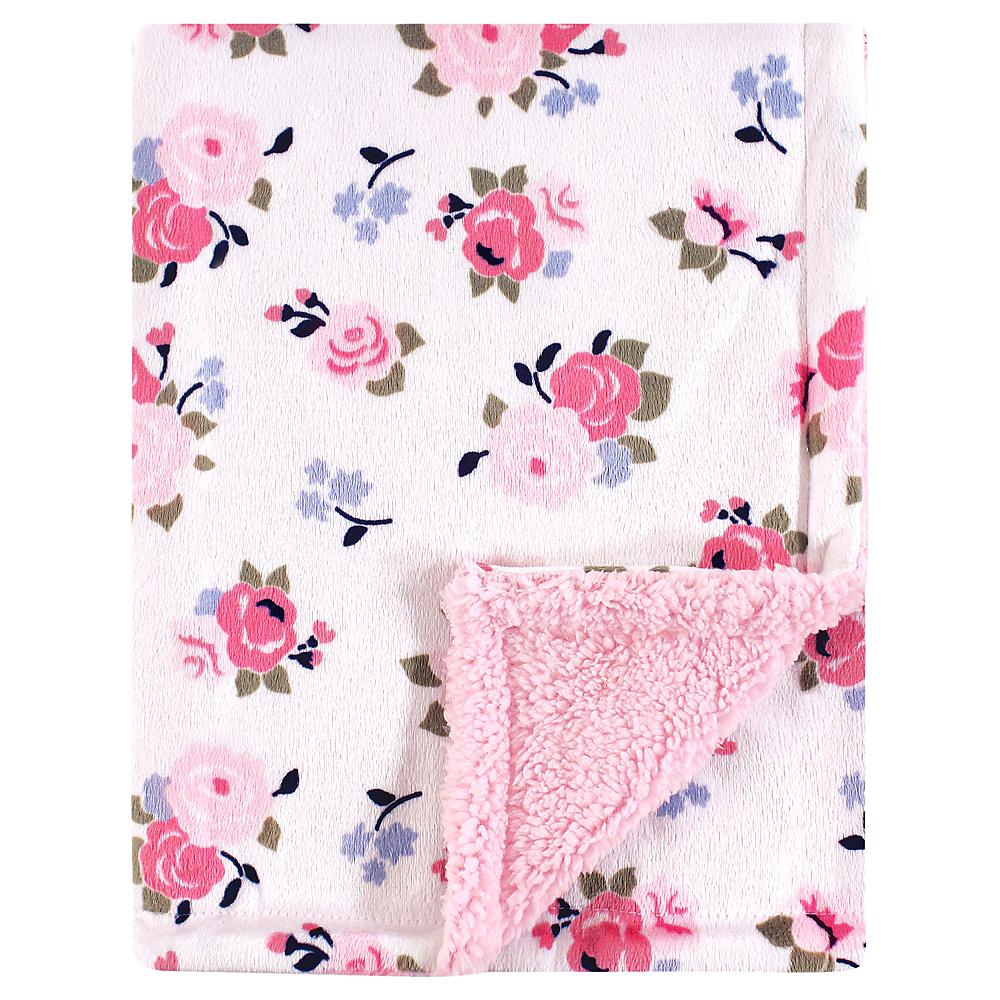 Pink Floral Luvable Friends Mink Blanket with Sherpa Backing Image #1