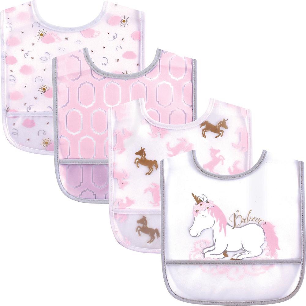Yoga Sprout Unisex Baby Waterproof Bibs, Unicorn 4-Pack Image #1